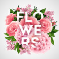Stylish vector poster with beautiful flowers