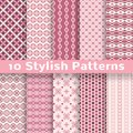 Stylish vector seamless patterns tiling pink color endless texture can be used for printing onto fabric and paper or scrap booking Stock Photo