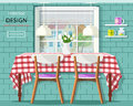 Stylish vintage dining room interior: dinner table with checkered tablecloth, window with jalousie and brick wall with shelves. Royalty Free Stock Photo