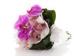 Stylish wedding bouquet with orchids isolated over white background Stock Photography