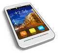 Stylish white touchscreen smartphone Royalty Free Stock Photography