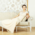 Stylish woman in a evening gown Royalty Free Stock Images