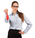 Stylish woman glasses holding deflated balloon Royalty Free Stock Image