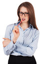 Stylish woman holding pencil thinking something Royalty Free Stock Photo