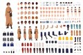 Stylish woman of middle ages constructor or DIY kit. Collection of female cartoon character body parts, facial