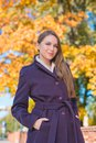 Stylish woman out walking in autumn a street smiling down at the camera against colorful yellow foliage Stock Images
