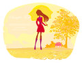 Stylish woman with umbrella illustration Stock Photography
