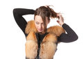Stylish woman in winter fur jacket Stock Photography