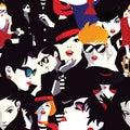 Stylish women in style pop art.