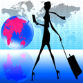 Stylish women world travel Royalty Free Stock Images