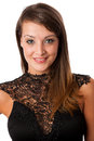 A stylish young brunette woman in black dress in little black dr Royalty Free Stock Photo