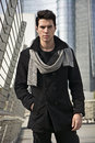 Stylish Young Handsome Man in Black Coat Standing in City Center Street Royalty Free Stock Photo