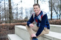 Stylish young man posing casualy Royalty Free Stock Photo