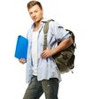 Stylish young student with backpack and folder Stock Image