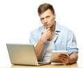Stylish young student behind laptop Royalty Free Stock Photo