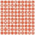 100 stylist icons hexagon orange