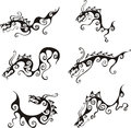 Stylistic dragon tattoos set of black and white vector illustrations Stock Photography