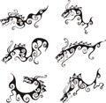 Stylistic dragon tattoos Royalty Free Stock Photo