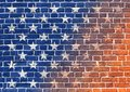 Stylization of the American Flag painted on the brick wall Royalty Free Stock Photo