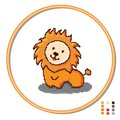 Stylization of cross-stitching children s toys lion. Vector