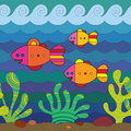 Stylize fishes fantasy under water Royalty Free Stock Photography