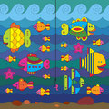 Stylize fishes and fishhook concept with fantasy under water Royalty Free Stock Photo