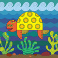 Stylize turtle fantasy under water Royalty Free Stock Image