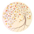 Stylized autumn tree on a yellow background Stock Images