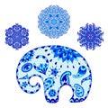 Stylized baby cartoon elephant and mandalas in gzhel style.