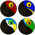 Stylized bird heads round icons showing representation of macaw Stock Images
