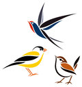 Stylized birds barn swallow winter wren and american goldfinch Stock Photography