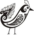 Stylized birds silhouette with small decorative pattern Royalty Free Stock Images