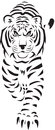 A stylized black and white drawing of a tiger Stock Photography