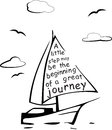 Stylized black yacht with a quote isolated on wight vector Royalty Free Stock Photo
