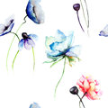 Stylized blue and red flowers seamless wallpaper with Stock Images