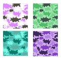 Stylized camouflage seamless vector eps pattern set four design variants Royalty Free Stock Images