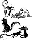 Stylized Cats - elegance and graceful cats. Stock Image