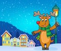 Stylized Christmas deer theme image 3 Royalty Free Stock Photo