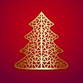 Stylized christmas tree vector illustration gold Stock Photography