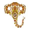 Stylized colorful elephant portrait art on white background. Vector Royalty Free Stock Photo