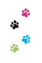 Stylized colorful vector cat paws Royalty Free Stock Images