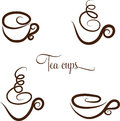 Stylized cups abstract swirl tea coffee collection hand drawn isolated on a white background Royalty Free Stock Photo
