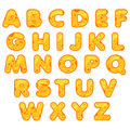 Stylized cute alphabet. Cartoon Cheese letters to make your own text