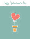 Stylized cute heart in pot. Cartoon style. Greeting cards for valentines day.