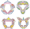 Stylized decorative flaming frames set of color vector illustrations Stock Photos