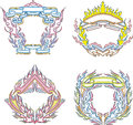 Stylized decorative flaming frames set of color vector illustrations Stock Photo