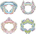 Stylized decorative flaming frames set of color vector illustrations Royalty Free Stock Photography