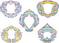 Stylized decorative flaming frames set of color vector illustrations Stock Photography