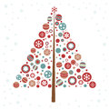 Stylized design Christmas tree with xmas toys Royalty Free Stock Image