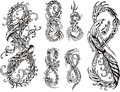 Stylized dragons as digit eight set of black and white vector illustrations Stock Image